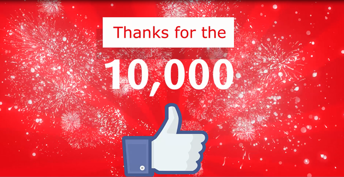 10,000 likes on facebook and twitter