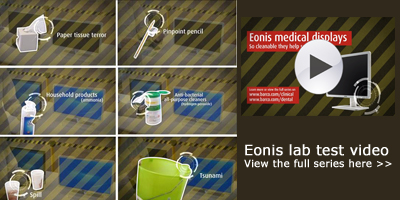 Just how cleanable are Barco's Eonis medical (dental and clinical) displays? Lab test video